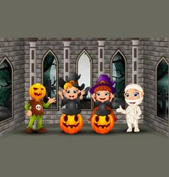 Cartoon happy kids on the halloween day vector