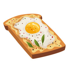 cartoon scrambled egg on slices fried bread vector image
