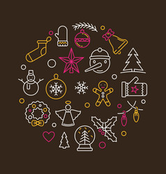 christmas creative round linear vector image