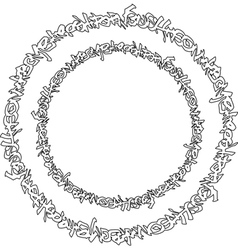 circular black graffiti tag pattern on white vector image