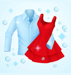 Clean clothes washed blue shirt and red dress vector