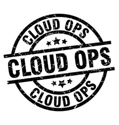Cloud ops round grunge black stamp vector