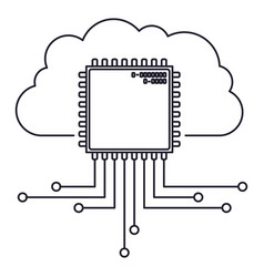 Cloud storage data and cpu microprocessor icon vector