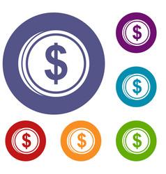 Coin dollar icons set vector