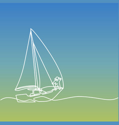continuous line drawing of paper boat vector image