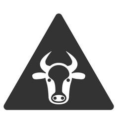 Cow warning flat icon vector