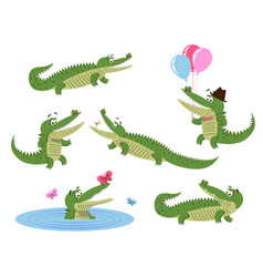Cute cartoon crocodiles isolated set vector