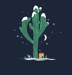 Cute cartoon with high saguaro cactus vector