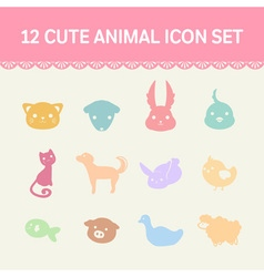 cute pastel animal cartoon icon set vector image