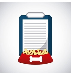 Document and dog food icon Pet shop design vector image
