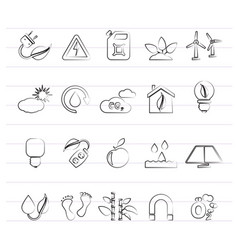 ecology environment and nature icons 3 vector image