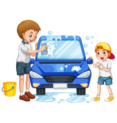 Father and son washing car on white background vector