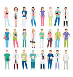 Female and male doctors and nurses vector