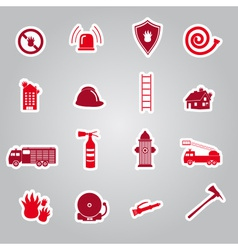 Fire brigade stickers set eps10 vector