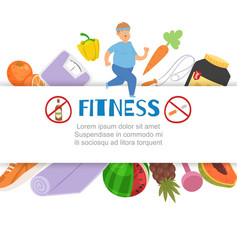 fitness running gym healthy diet and lifestyle vector image