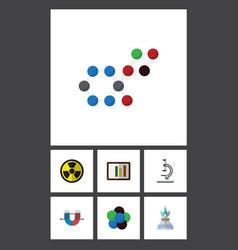 Flat icon study set of glass diagram molecule vector