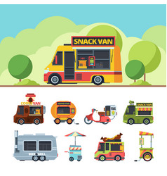 food truck colorful flat set vector image