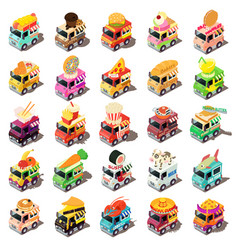 Food truck icons set isometric style vector