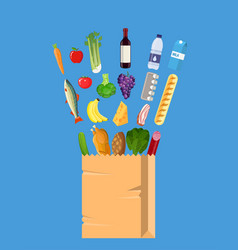 Fresh healthy produce and paper shopping bag vector