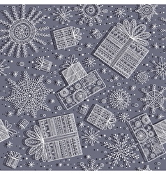 gifts christmas seamless pattern with snowflakes vector image