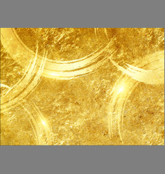 Gold paint brush effect background leaf vector