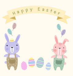 happy easter card template with pastel cute vector image vector image