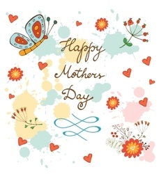 Happy Mothers Day card with flowers and butterfly vector image