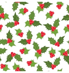 Holly berry ilex mistletoe seamless pattern green vector