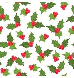 Holly berry ilex mistletoe seamless pattern green vector image