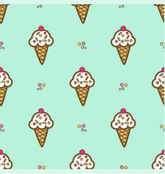ice cream in waffle cone vector image