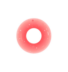 Inflatable rubber swimming pink ring donut shaped vector