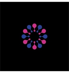 Isolated abstract pink and blue flower logo vector