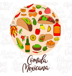 Isolated colorful stylish elements about mexico vector