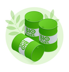 Isometric biofuel barrels with biofuel green vector