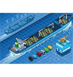 Isometric Cargo Ship with Containers in Rear View vector image