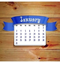 January 2016 calendar template vector image
