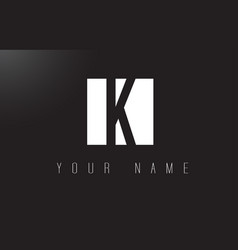 k letter logo with black and white negative space vector image