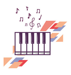 Keyboard with music notes vector