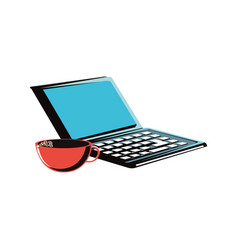 laptop computer with coffee cup vector image