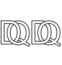 logo qd dq icon sign two interlaced letters q d vector image