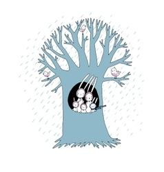Magic Tree and cute rabbits vector