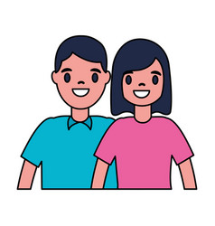man and woman character cartoon vector image