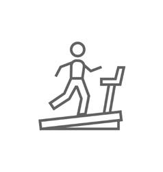 Man running on treadmill line icon vector