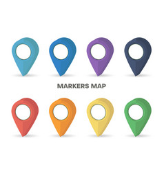 markers map rainbow colors set with shadow vector image