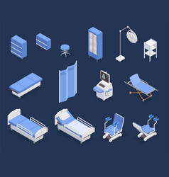 Medical equipment isometric icons set vector