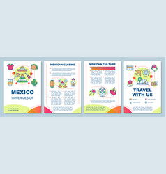 Mexico brochure template layout mexican sights vector