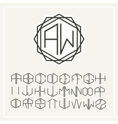 Monogram line art logo in Art Nouveau Style vector image