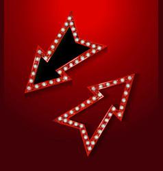 neon marquee retro arrow sign vector image