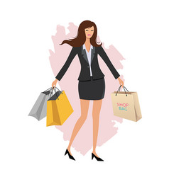 office worker and shopping bag charecter cartoon vector image