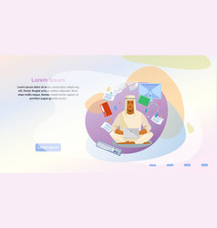 Online office service web page template vector